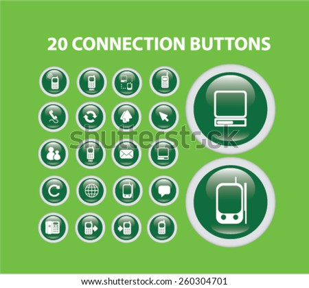 20 connection buttons, icons set, vector - stock vector