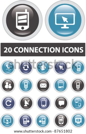 20 connection buttons, icons, signs, vector illustrations