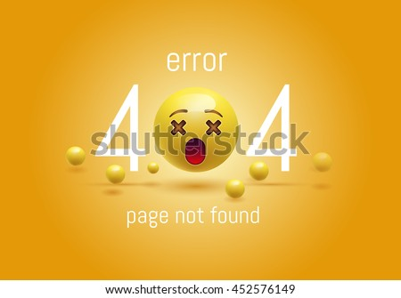 404 connection error. Abstract yellow background with smiley face, Emoticon, Emoji . Sorry, page not found. vector illustration. EPS 10 - stock vector