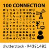 100 connection icons set, vector - stock vector
