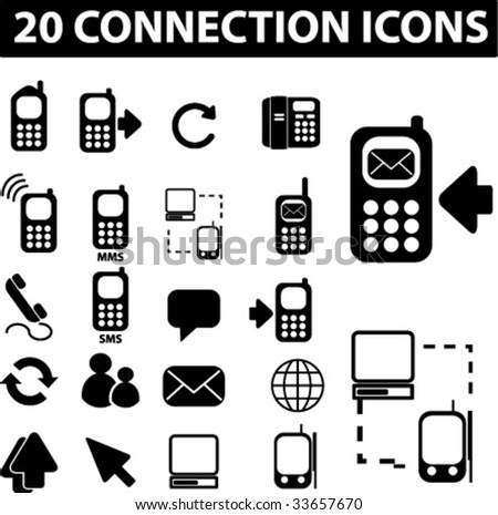 20 connection icons. vector