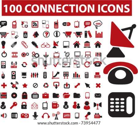 100 connection icons, vector - stock vector