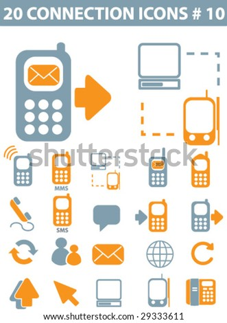 20 connection icons vector set - stock vector