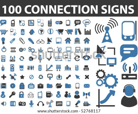 100 connection signs. vector