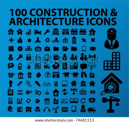 100 construction & architecture identity icons, vector - stock vector