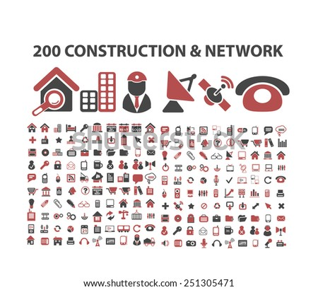 200 construction, business, community, network, real estate isolated design flat icons, signs, illustrations vector set on background - stock vector