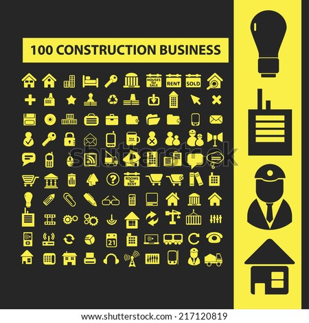 100 construction business icons, signs, illustrations, silhouettes set, vector - stock vector