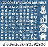 100 construction & business icons, signs, vector illustrations - stock vector