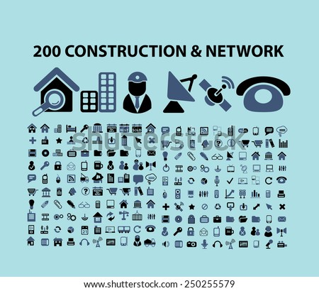 200 construction, communication, network, business icons, illustrations, signs set, vector - stock vector