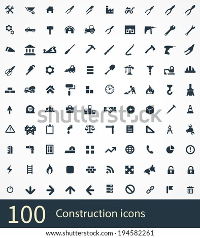 100 construction icons - stock vector