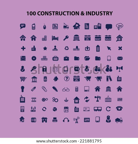 100 construction, industry icons, signs, illustrations, silhouettes set, vector - stock vector