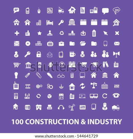 100 construction, industry icons, signs set, vector - stock vector