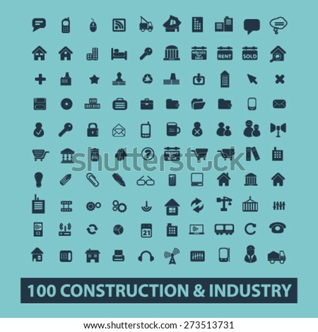 100 construction, industry, technology isolated icons, signs, illustrations website, internet mobile design concept set, vector - stock vector