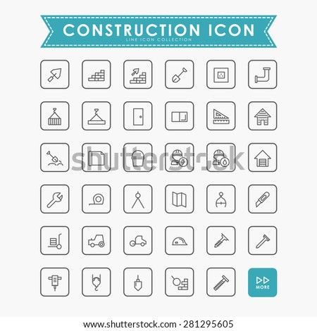35 construction minimal line icons - stock vector