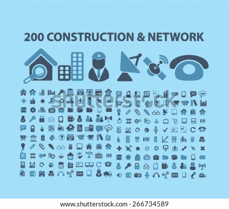 200 construction, network, connection, communication, technology icons, signs, illustrations design concept set. vector - stock vector