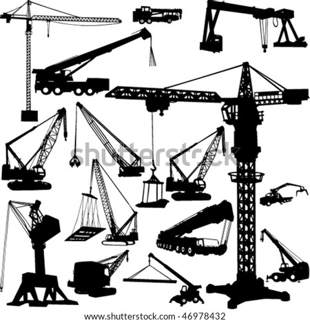 construction objects vector (crane) - stock vector