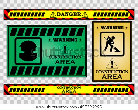 construction safety warning sign - stock vector