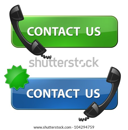 """Contact Us"" icon. Phone receiver and contact us button. Vector illustration - stock vector"
