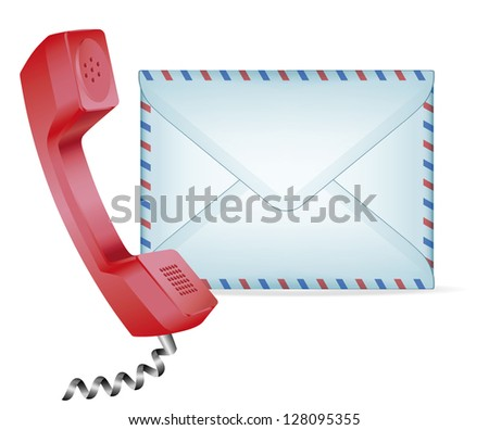 """Contact Us"" icon. Phone receiver and mail. EPS-10 - stock vector"