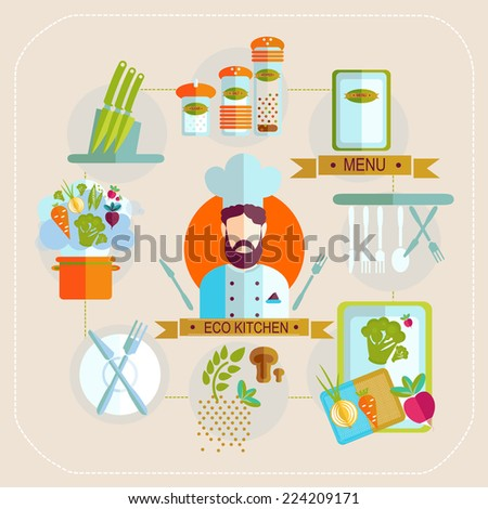 cooking culinary pastry chef classes advertisement with kitchen pictograms composition  flat vector abstract illustration - stock vector