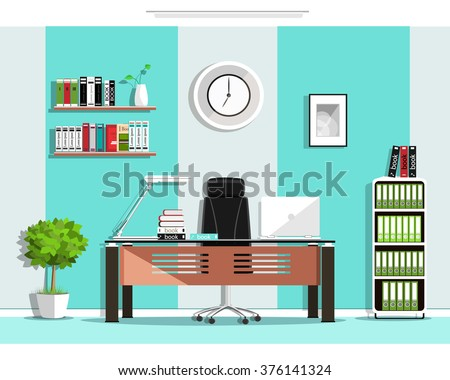 Cool Graphic Office Room Interior Design Stock Vector