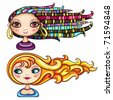 2 cool hair styles on beautiful girls: Exotic beautiful girl with colorful dreadlocks, braids and ethnic jewelry. Blue-eyed beauty with blonde and red playful hair. pretty ladies isolated on white - stock vector