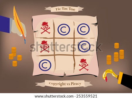 Copyright Owner and a Pirate plays Tic-Tac-Toe Game using piracy icons and C trademarks. - stock vector
