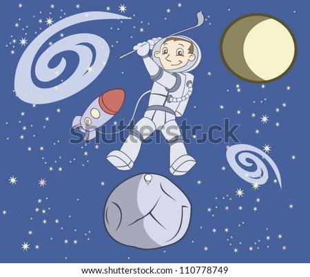 Cosmonaut plays golf - stock vector