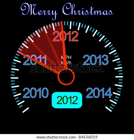 2012 counter on the dashboard for new year - stock vector