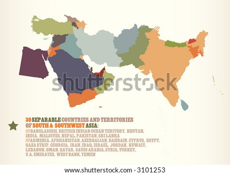 30 countries & territories of S & SW Asia (with Egypt). Each country can be used separately. More in portfolio. - stock vector