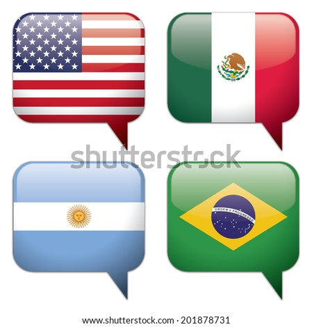 4 Country and Language Bubbles: USA (English), Mexico (Spanish), Argentina (Spanish) and Brazil (Portuguese). EPS 10, vector illustration with CMYK colors. Big resolution JPG included. - stock vector