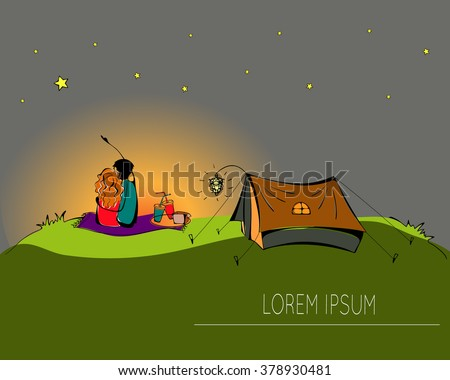 Couple in love sitting on the grass on a hill hugging together. Couple outside in & Couple In A Tent Stock Images Royalty-Free Images u0026 Vectors ...