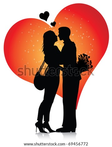 Couple silhouette with hearts (also available jpg version)