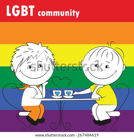 couple sitting in a cafe, the LGBT community - stock vector