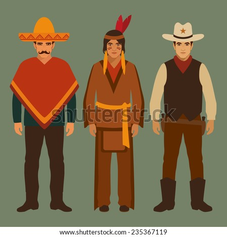 cowboy, indian and mexican, american people, traditional culture  - stock vector