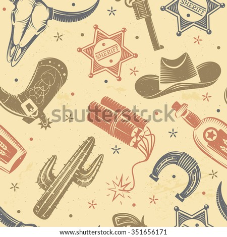 Cowboy seamless pattern with cactus dynamite and hat flat vector illustration  - stock vector