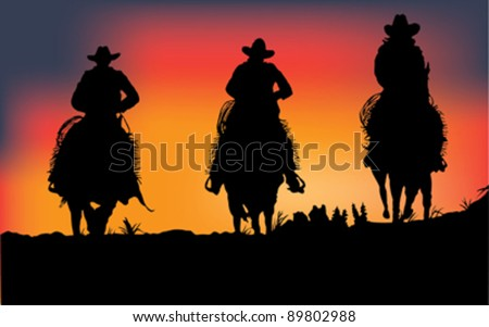 3 cowboys on sunset; vector - stock vector
