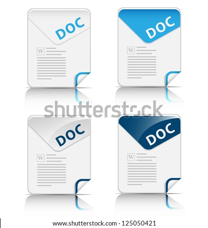 """Creative and modern design """"DOC"""" file type icon for web design and applications - stock vector"""