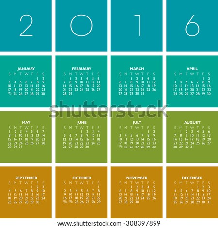 2016 Creative Colorful Calendar in multiple colors - stock vector