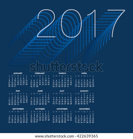 2017 Creative Colorful Calendar in shades of blue  - stock vector