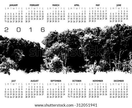 2016 Creative Woods Calendar - stock vector