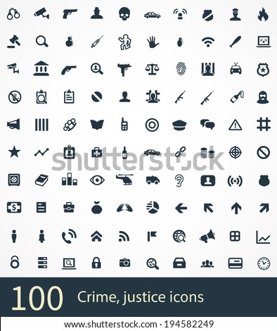 100 crime, justice icons - stock vector