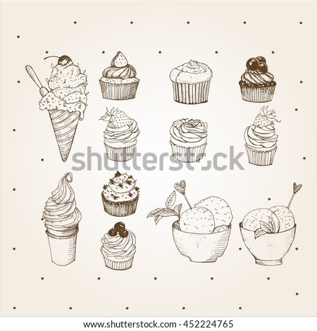 Cupcakes and ice creams set performed in vintage style. Hand drawn illustration. It can be used for design menu or greeting cards, packaging - stock vector