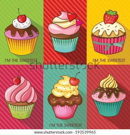 Cupcakes design set. Vector illustration - stock vector