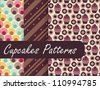 Cupcakes Patterns - stock vector