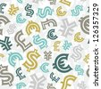 Currency signs. Seamless pattern background. - stock photo