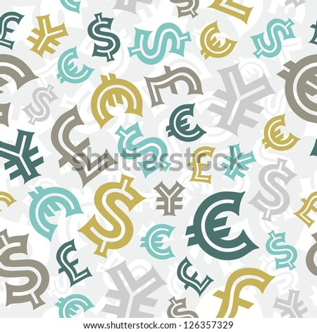Currency signs. Seamless pattern background. - stock vector