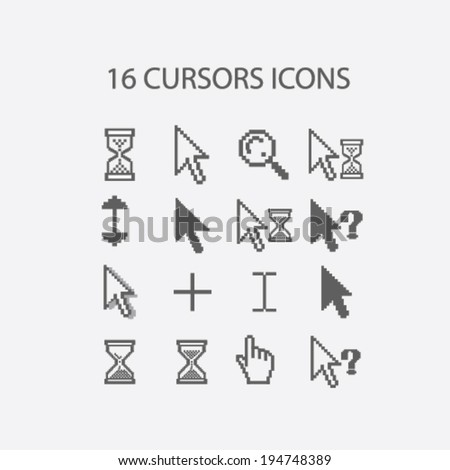 16 cursors, hand, search, select, question, information icons set, vector - stock vector