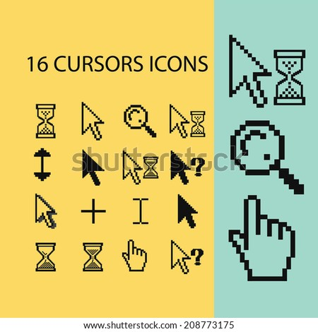 16 cursors, hand, select, modify icons, signs set, vector - stock vector