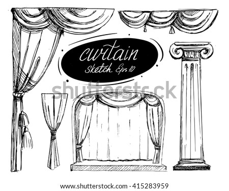 Curtain sketch. Vector set. Isolated